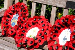 Poppy Wreathes, National Memorial Arboretum. Stock Photo