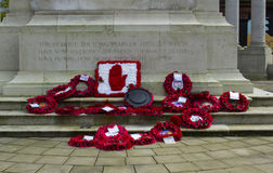 Poppy Wreaths at the cenotaph at Belfast`s City Hall just after the commemoration of the Battle of Passchendaele in France Stock Image