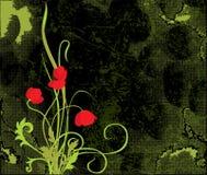 Poppys background. Khaki tone background with red flowers stock illustration