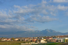 Poprad and High Tatra Mountain panorama, Western Carpathians Royalty Free Stock Photography