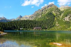 Poprad lake in High Tatras mountains, Slovakia Royalty Free Stock Image