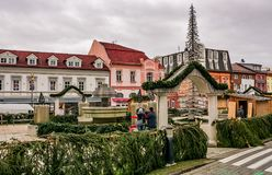 Poprad town preparing for Christmas. Poprad, Slovakia - November 27, 2016: Town decoration with lights, preparing for Christmas Royalty Free Stock Images