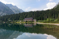 Popradske mountain lake in High Tatras, Slovakia Royalty Free Stock Photos
