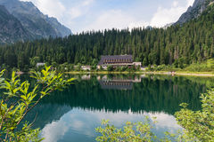 Popradske mountain lake in High Tatras, Slovakia Royalty Free Stock Photo