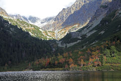 Popradske pleso - tarn in High Tatras, Slovakia royalty free stock image