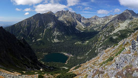 Popradske pleso , Vysoke Tatry , Slovakia. Aerial view at mountain lake Popradske pleso which is a popular hiking destination for visitors of National park royalty free stock image