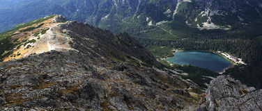 Popradske pleso , Vysoke Tatry , Slovakia. Aerial view at mountain lake Popradske pleso which is a popular hiking destination for visitors of National park Stock Image
