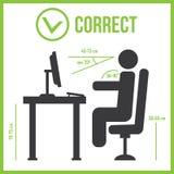 Poprawna siedząca postura Zdjęcie Stock
