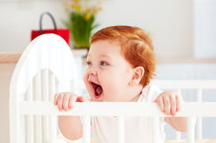 Poprtait της χαριτωμένης ευτυχούς στάσης μωρών νηπίων σε μια κούνια στο σπίτι Στοκ Εικόνα