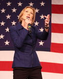 Poprzedni HP exec Carly Fiorina gestykuluje przed USA flaga Zdjęcie Stock