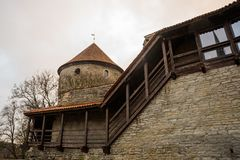 Poprzedni więzienia wierza Neitsitorn w starym Tallinn, Estonia Dziewczyny wierza fotografia stock