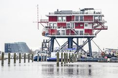 Poprzednia na morzu platformy REM wyspa Obrazy Royalty Free