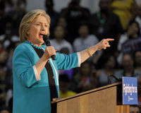 Poprzednia sekretarka Hillary Clinton Prowadzi kampanię dla prezydenta przy Wschodnią Los Angeles szkołą wyższa Cinco de Mayo, 20 Zdjęcie Royalty Free