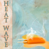 Popsicle концепции плавя в горячем тексте солнца, волне тепла Стоковое Изображение
