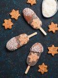 Popsicle Chia с сырцовыми тортом и шоколадом моркови стоковая фотография rf