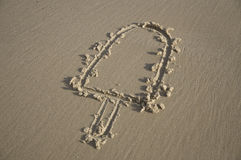 Popsicle engraved on the sand Royalty Free Stock Images