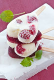 Popsicle in heart-shape. Frozen popsicle in heart-shape with fresh raspberries Royalty Free Stock Photo