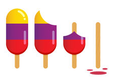 Popsicle Ice Cream in Different Stages of Eating. Vector stock of popsicle ice cream in different stages of eating stock illustration