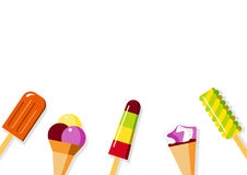 Popsicle & Ice Cream Flat Illustration Background Royalty Free Stock Photography