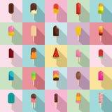 Popsicle ice cream stick icons set, flat style. Popsicle ice cream stick icons set. Flat illustration of 25 popsicle ice cream stick vector icons for web Stock Photo