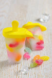 Popsicle Ice Pops with candy Stock Image