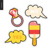 Popsicle and ring patches hand drawn set Stock Image
