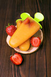 Popsicle with strawberries Royalty Free Stock Image