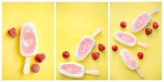 Popsicle z świeżą malinką na stole Obrazy Stock