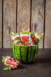 Popsicles арбуза, кокоса и кивиа Стоковая Фотография RF
