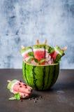 Popsicles арбуза, кокоса и кивиа Стоковые Фото