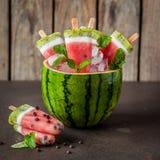 Popsicles арбуза, кокоса и кивиа Стоковое Изображение RF