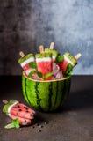 Popsicles арбуза, кокоса и кивиа Стоковые Изображения