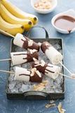 Popsicles банана и шоколада Стоковое Изображение RF