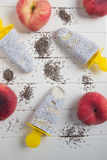 Popsicles with chia seeds and peach Royalty Free Stock Photography