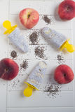 Popsicles with chia seeds and peach Royalty Free Stock Images