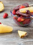 Popsicles with fruit Royalty Free Stock Images