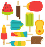 Popsicles melting down isolated set. Set of colorful popsicles or ice cream melting and bite Stock Photo