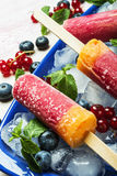 Popsicles with red currants and blueberries. Homemade popsicles with red currants and blueberries Stock Image