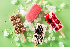 Popsicles with scattered ice Royalty Free Stock Images
