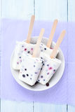 Popsicles from yogurt, blueberry and blackcurrant. Top view royalty free stock photo