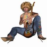 Popstar com guitarra Imagens de Stock