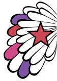 Popstarhintergrund. Flügel und roter Stern auf Weiß vektor abbildung