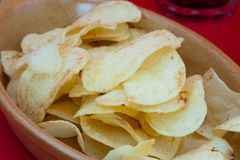 Poptato chips and cola Royalty Free Stock Photo