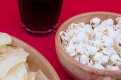 Poptato chips, pop corn and cola Royalty Free Stock Image