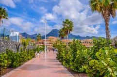 Populär canarian semesterort Playa de Las Americas i Tenerife, Canar Royaltyfri Foto