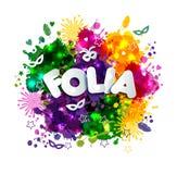 Populär händelse i Brasilien festlig mood Carnaval rubrik med färgrika fläckar som översätts från det portugisiska roliga partiet stock illustrationer