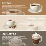 Populär kaffelägenhetdesign Kaffe cappuccino, iskaffe arkivbilder