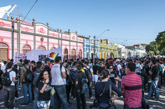 Populär protest på dagen av självständigheten av  Arkivfoton
