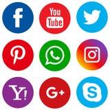 Populär social cirkel för massmediasymbolsuppsättning royaltyfri illustrationer