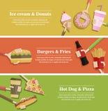 Populär uppsättning för baner för matrengöringsduk, lägenhetdesign Royaltyfri Bild
